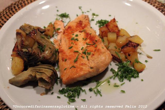 Salmone, Patate e Carciofi al Profumo di Zafferano