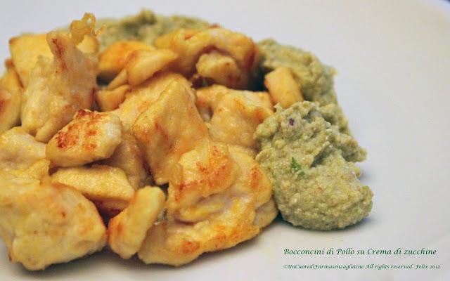 Bocconcini di Pollo Su Crema di Zucchine